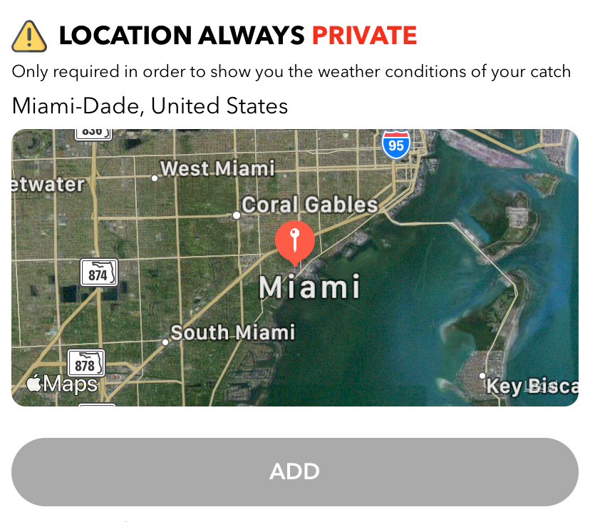 Fishing apps: WeFish location private